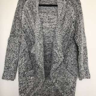 Navy/Grey Furry Cotton Cardigan