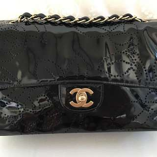 100% Authentic Chanel Patent Black Camellia Medium Flap Bag