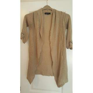 Beige Quarter Sleeve Cardigan
