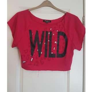 Pink 'WILD' Crop Top