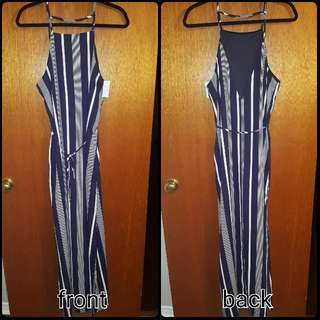 Blue And White Striped Maxi Dress (W Slits)