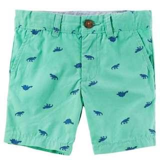 (全新現貨)美國正版caters 卡特 男寶短褲-綠色恐龍(18m)