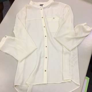 Forever21-long Sleeve White Polo