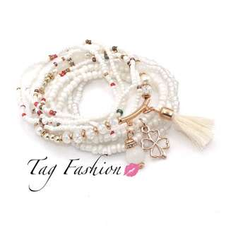 9pcs/set Brand Multilayer Seed Beads Tassel Clover Bracelets & Bangles Strand Stretch Friendship Bracelets Pack for Women