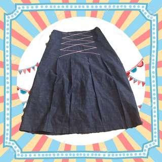 🚚 復古古著❤️百摺線條牛仔裙