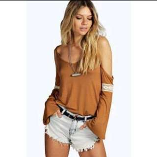 S8 - 10 Open Shoulder Bell Sleeve Top
