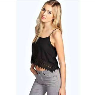 S10 Crochet Trim Chiffon Top
