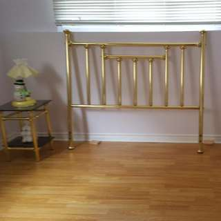 Brass Head Board And End Tables