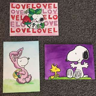 SNOOPY Acrylic Painting On Canvas Panels