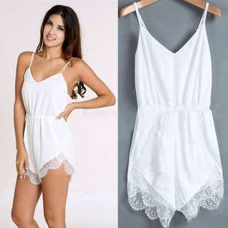 S6-10 White Lace Playsuit
