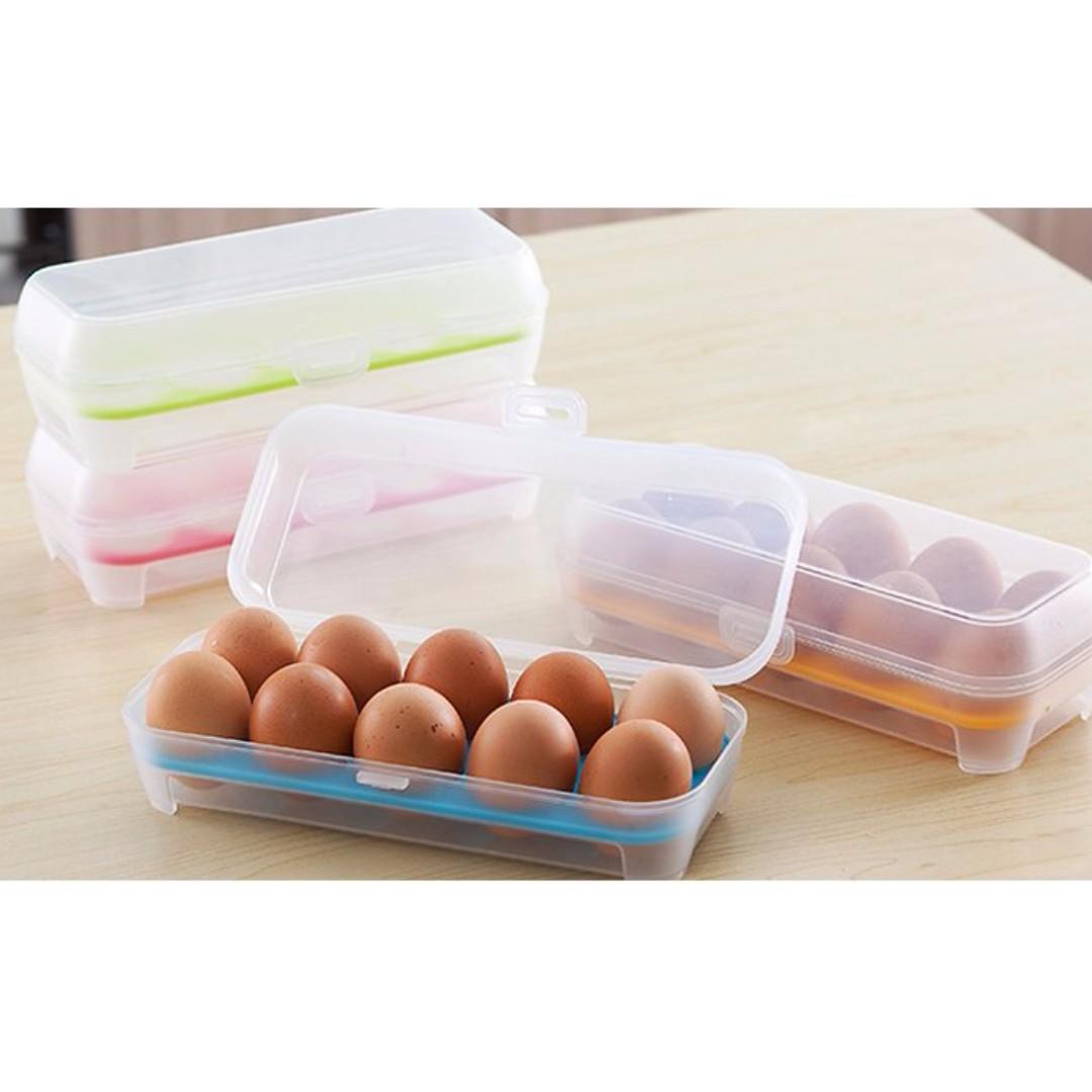 10格雞蛋保鮮盒 雞蛋盒 雞蛋收納盒 廚房冰箱便攜式收納盒 多功能儲物整理盒#Y168