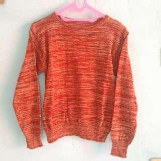 New Sweater Rajut Merah Bata