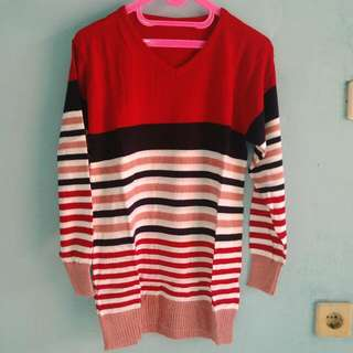 New Sweater Rajut Merah Combinasi#merdeka73