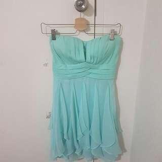 Mint flowy cocktail dress