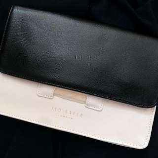 Ted Baker B&W Two-way Leather Crossbody/ Clutch with Mirror