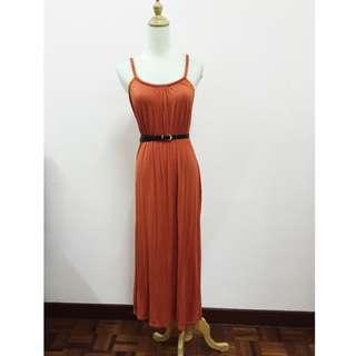 (Reduce!)Orange Plait Skinny Strap Maxi Dress