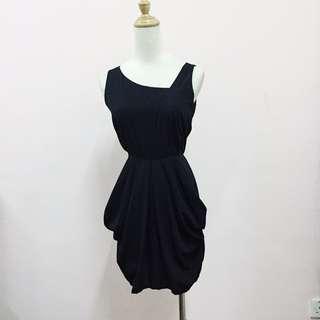 (Reduce!)Asymmetric Sleeveless Trapeze Black Dress