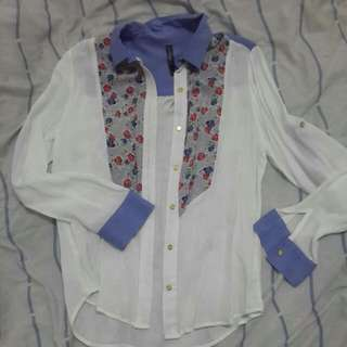 Blue White Floral Long Sleeve Shirt With Collar