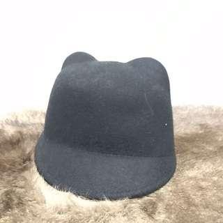Dotti Bear Ears Black Hat 100%wool