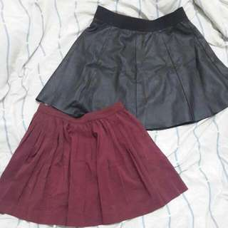 Maroon Skirt Black Leather Skirt