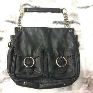 black leather Oroton bag with chain shoulder strap