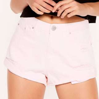 CHEEKY SOFT PINK DENIM SHORTS