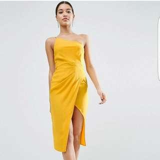 ASOS One Shoulder Drape Midi Dress UK 6