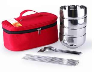 🚚 Stainless steel insulated double bowl chopsticks spoon zipper bag picnic camping outside travel travel portable utensils