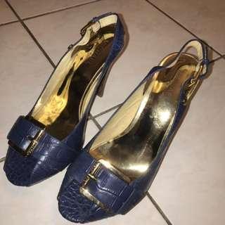 Michael Kors藍色魚口跟鞋
