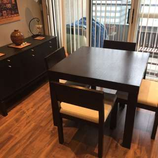 Dining Set (Table, 4 chairs, Sideboard) Espresso
