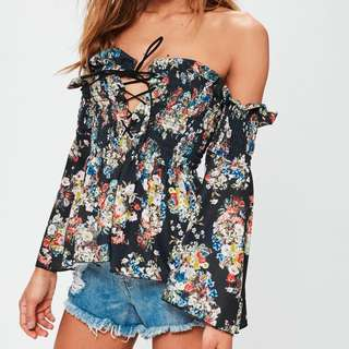 Missguided bardot floral lace up off the shoulder top