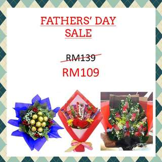 Fathers day 2017 PROMO: Designer bouquet for RM109 only w/ FREE Surprise DELIVERY in Klang Valley + Gift Card