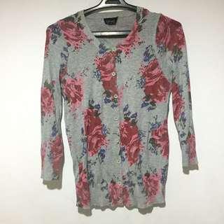 TOPSHOP Floral Grey Cardigan