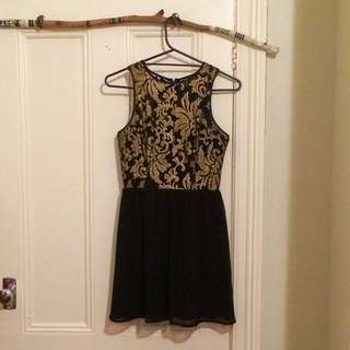 Pilgrim Dress - Size 8. Embroidered Black and Gold Bustier Style