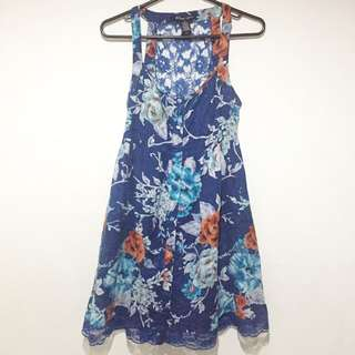 Blue Floral See Through Dress With Lace Insert