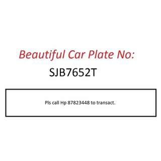Beautiful Car Plate Number for Sale - SJB7652T