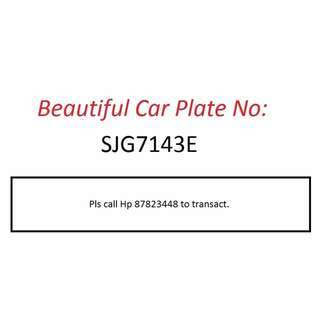 Beautiful Car Plate Number for Sale - SJG7143E