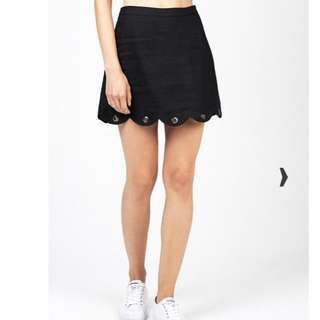 Black linen ALICE IN THE EVE Scallop Eyelet Skirt Size S