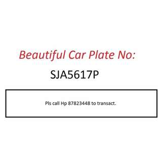 Beautiful Car Plate Number for Sale - SJA5617P