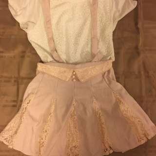 全新 Liz Lisa Baby Pink 吊帶lace裙 (可拆帶)