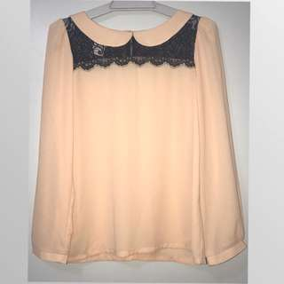 Peach Lace Korean Style Blouse