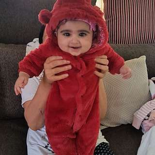 Baby Red Furry Onesie (winters)