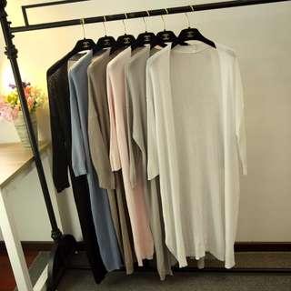 (預購)冰絲七分垂墜針織罩衫(5色)