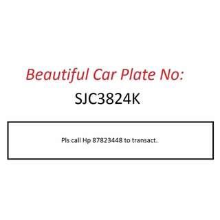 Beautiful Car Plate Number for Sale - SJC3824K