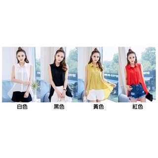 (預購)前短後長弧形拼接雪紡襯衫(4色)
