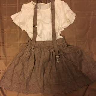 全新 啡色格仔裙 (吊帶可拆)