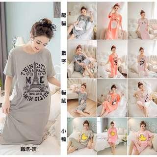 (預購)針織棉印花長版居家服(13種選擇)