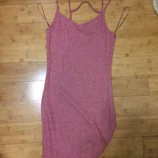 Cotton On Pink Ribbed Mini Dress Size S