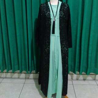 Turquoise Long Dress And Brukat Long Cardy