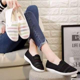 韓版百搭平底帆布休閒鞋 懶人鞋縷口鞋 布鞋 學生鞋 一腳蹬懶人女鞋